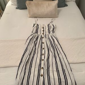 White Button Dress with Blue Stripes